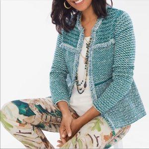 Chico's open front fringe tweed sweater